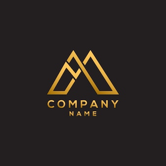 Letra inicial m luxo simples e elegante letra m logotipo