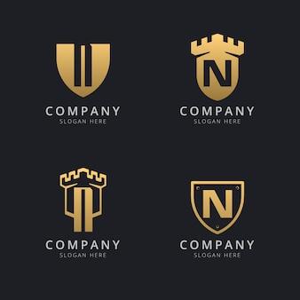 Letra inicial n e escudo com estilo dourado