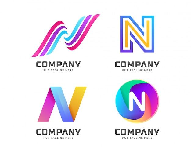 Letra inicial n logotipo modelo para empresa