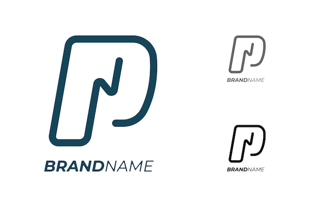 Letra inicial p com relâmpagos elétricos para conceito de logotipo de identidade empresarial de tecnologia
