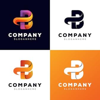 Letra inicial pb coleção logotipo estilo modelo