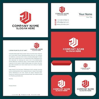 Letra inicial pu sheild design do logotipo da empresa e cartão de visita