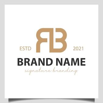 Letra inicial r com marca da marca b, sinal, design de logotipo de identidade corporativa