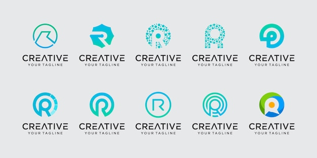 Letra inicial r rr ícones de modelo de logotipo para negócios de tecnologia de esporte de moda digital
