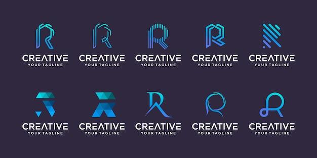 Letra inicial r rr logo icon set design para negócios de tecnologia automotiva de esporte de moda