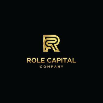 Letra inicial rc linha logotipo sobreposição modelo vector design