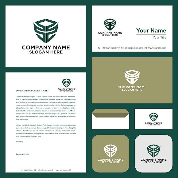 Letra inicial ss sheild company design logo e cartão de visita