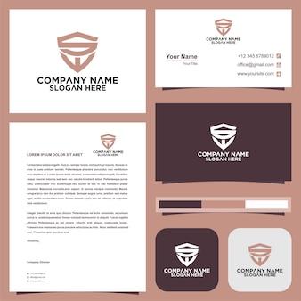 Letra inicial sw sheild company design logotipo e cartão de visita
