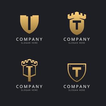 Letra inicial t e escudo com estilo dourado Vetor Premium