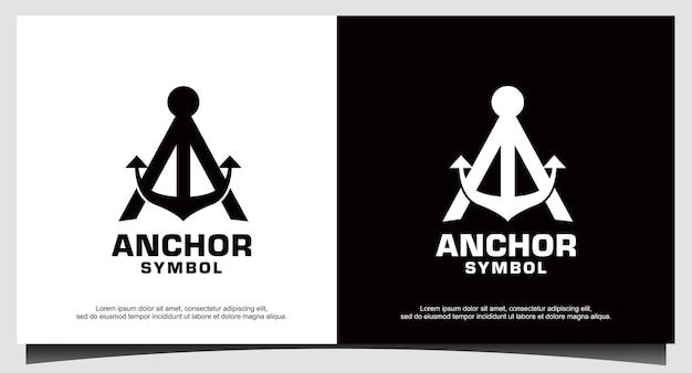Letra inicial um logotipo de barco âncora