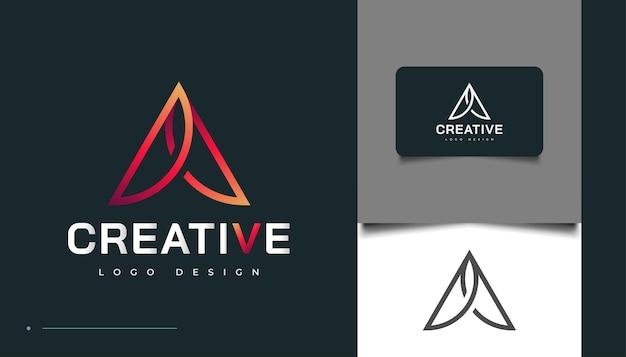 Letra inicial um modelo de design de logotipo com conceito moderno