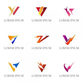 Letra inicial v com coleção de logotipo do trovão