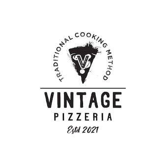 Letra inicial v pizza vintage fatias design do logotipo da pizzaria