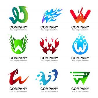 Letra inicial w logo design