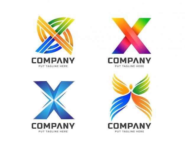 Letra inicial x logotipo modelo para empresa