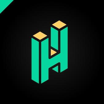 Letra isométrica h logo