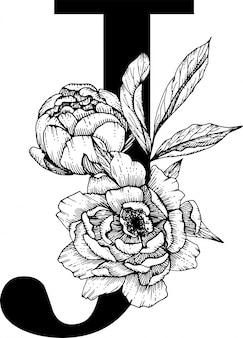 Letra j. alfabeto floral