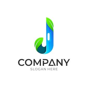 Letra j e design de logotipo de folha