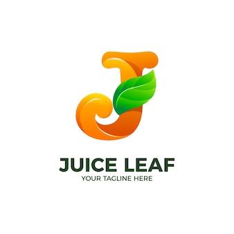 Letra j e modelo de vetor logotipo folha 3d