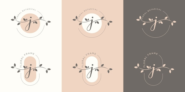 Letra j feminina com modelo de logotipo floral