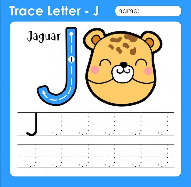 Letra j maiúscula - planilha de rastreamento de letras do alfabeto com jaguar