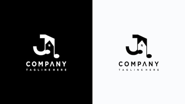 Letra j música logo design premium vector