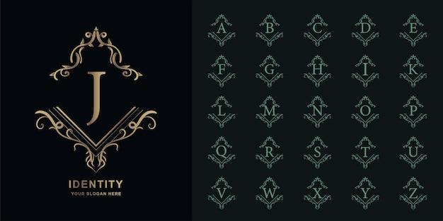 Letra j ou alfabeto inicial de coleção com modelo de logotipo dourado moldura floral ornamento de luxo.