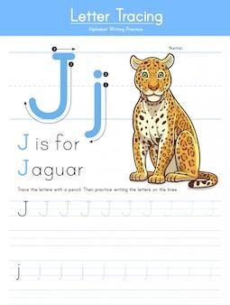 Letra j, rastreamento de animais alfabeto j para jaguar