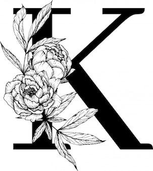 Letra k. alfabeto floral