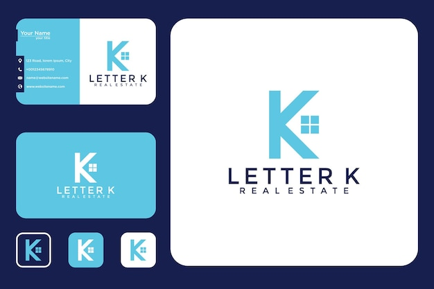 Letra k com design de logotipo da casa e cartão de visita