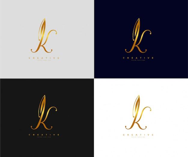 Letra k com ícone de assinatura e logotipo dourado