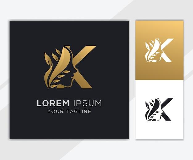 Letra k com modelo de logotipo de beleza feminina natural de luxo