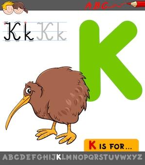 Letra k com pássaro de kiwi de desenho animado