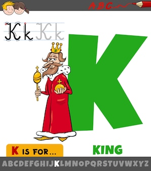Letra k do alfabeto com caráter de rei