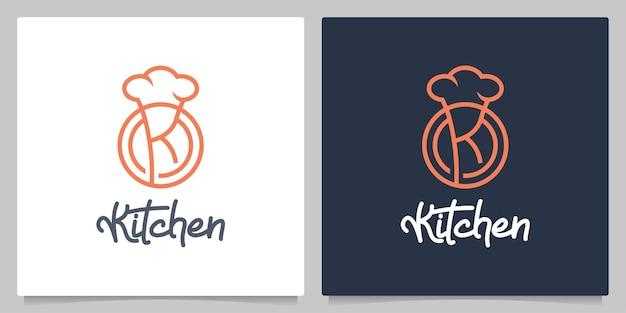 Letra k esboço da linha do chapéu do chef de cozinha design de logotipo simples e mínimo