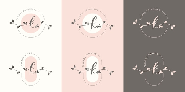 Letra k feminina com modelo de logotipo floral