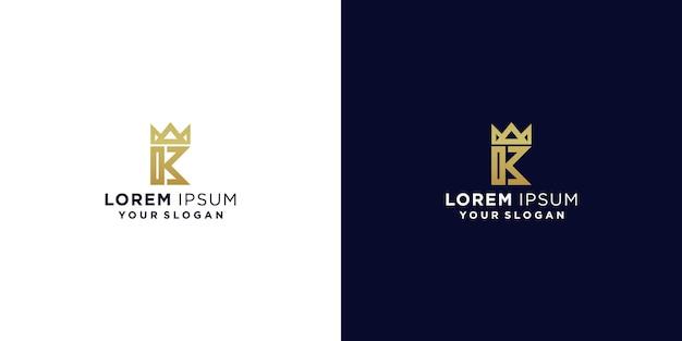Letra k king com logotipo da coroa
