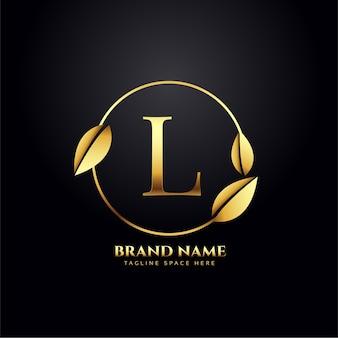 Letra l com folhas douradas design de logotipo premium