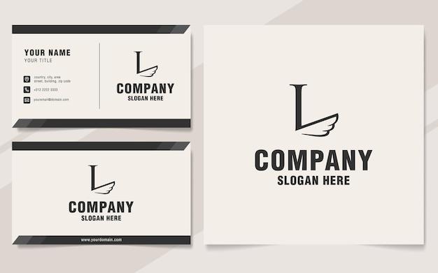 Letra l com modelo de logotipo de asas no estilo monograma