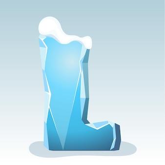 Letra l de gelo com neve no topo, fonte de vetor