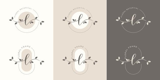 Letra l feminina com modelo de logotipo floral
