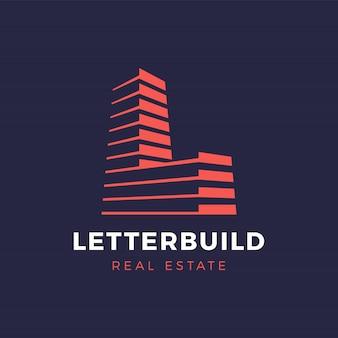 Letra l imóveis e construção serviços logotipo