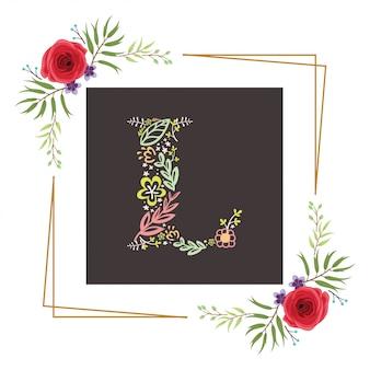 Letra l inicial com vetor floral