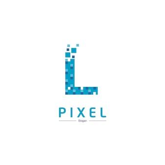 Letra l logotipo da tecnologia com símbolo de pixel