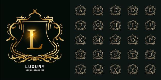Letra l ou alfabeto inicial da coleção com modelo de logotipo dourado moldura floral ornamento de luxo.