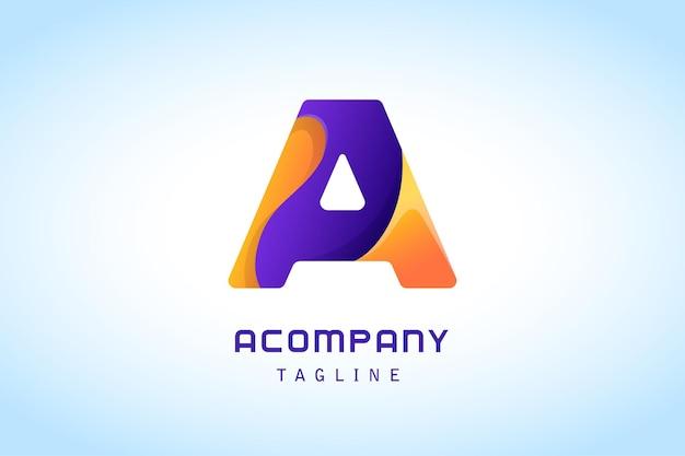 Letra laranja roxa e logotipo gradiente para empresa