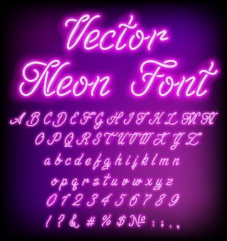 Letra luminosa de néon retrô violeta efeito de brilho de letra