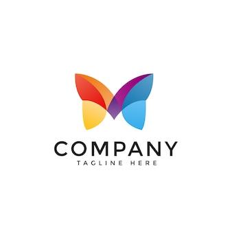 Letra m. borboleta colorido logo vector