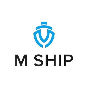 Letra m com navio simples, criativo, geométrico, elegante, moderno, logotipo
