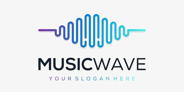 Letra m com pulso. elemento acorde. modelo de logotipo música eletrônica, equalizador, loja, música de dj, boate, discoteca. Vetor Premium